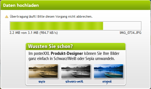 posterxxl Upload der Fotos