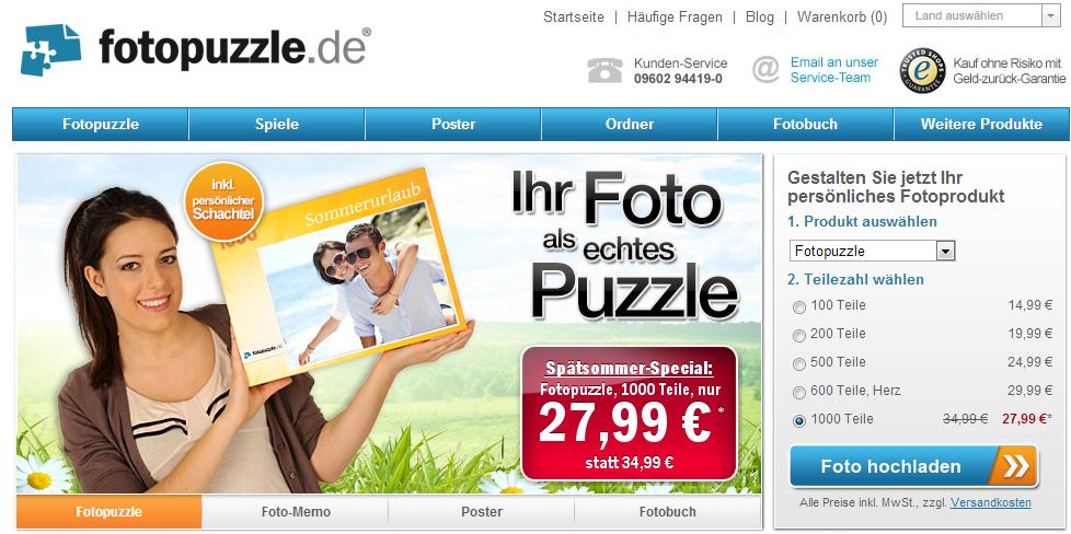 Fotopuzzle.de Startseite - aufgeräumt und leicht verständlich
